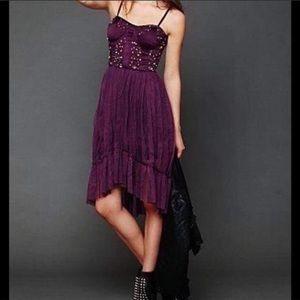 RARE Free People Purple Mesh Tulle Hi Low Dress XS